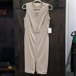 NWT Calvin Klein Beige Zippered Sheath Dress